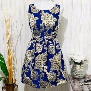 Ark & Co Blue & Gold Rose Dress Size Small